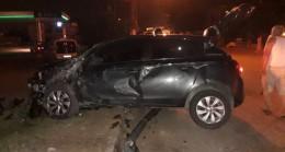 Takla atan aracın sürücüsü yaralı kurtuldu