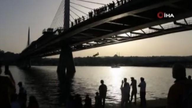 Haliç Metro Köprüsünden tehlikeli atlayış