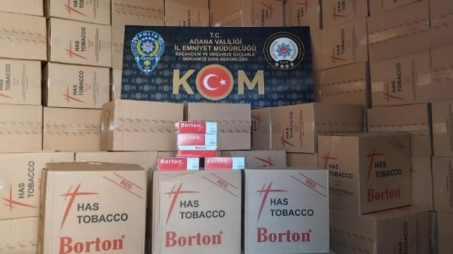 Adana'da 3 milyon 600 bin liralık makaron ele geçirildi