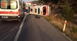 Özel ambulans takla attı 2 kişi yaralandı
