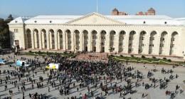 Azerbaycan'da coşkulu zafer kutlamaları havadan görüntülendi