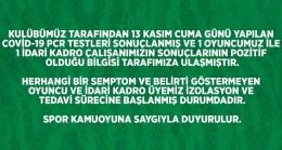 Frutti Extra Bursaspor'da 1'i oyuncu 2 kişinin Covid-19 testi pozitif çıktı