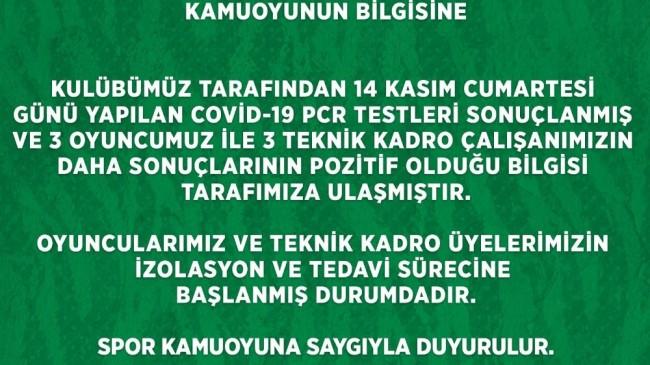 Frutti Extra Bursaspor'da 6 kişinin daha Covid-19 testi pozitif çıktı